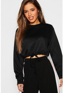 Womens Black Petite Draw Cord Detail Cropped Sweat Top