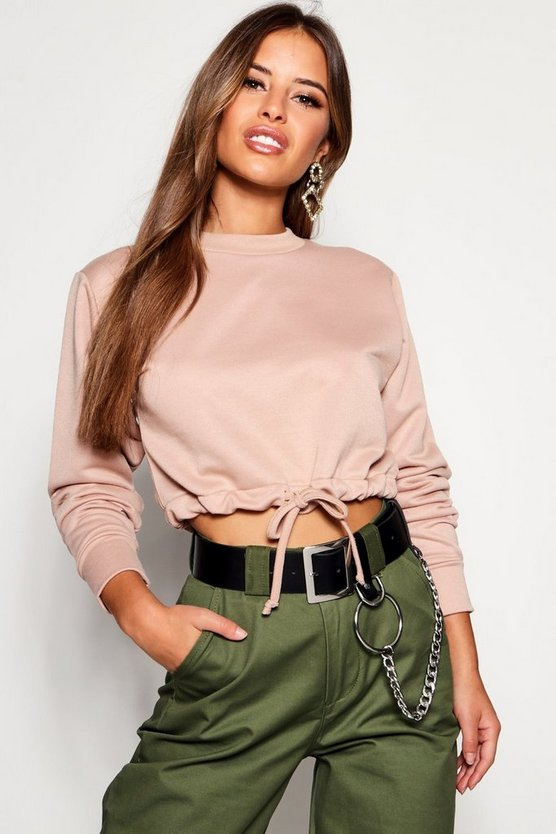 Petite Draw Cord Detail Cropped Sweat Top