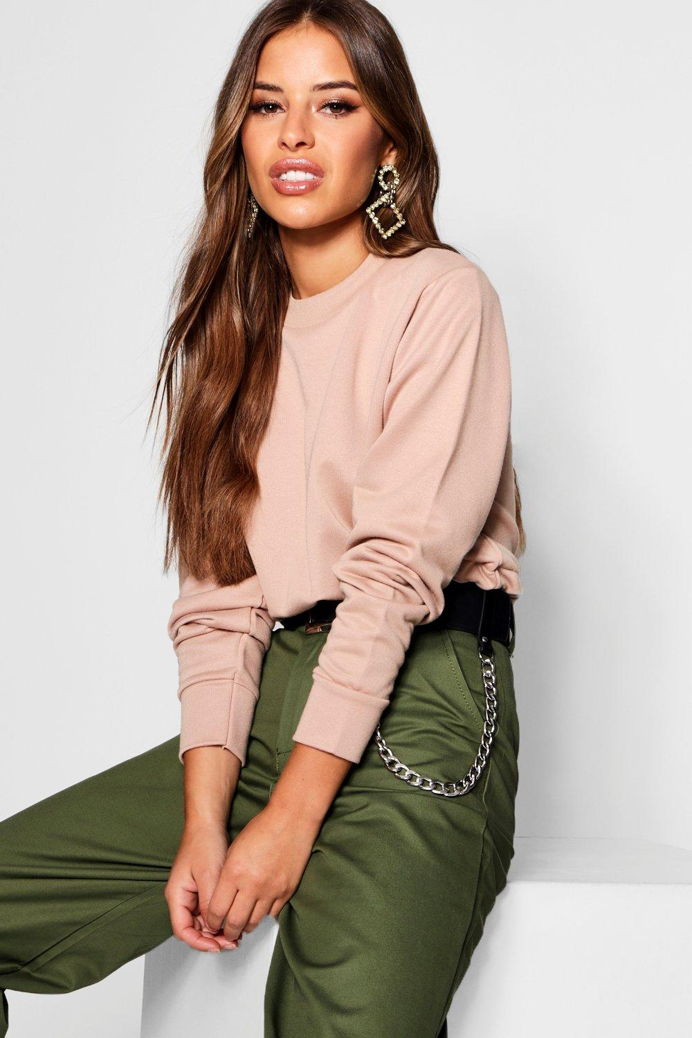 Sweat Detail Cord Cropped sand Draw Petite Top x4FACvq