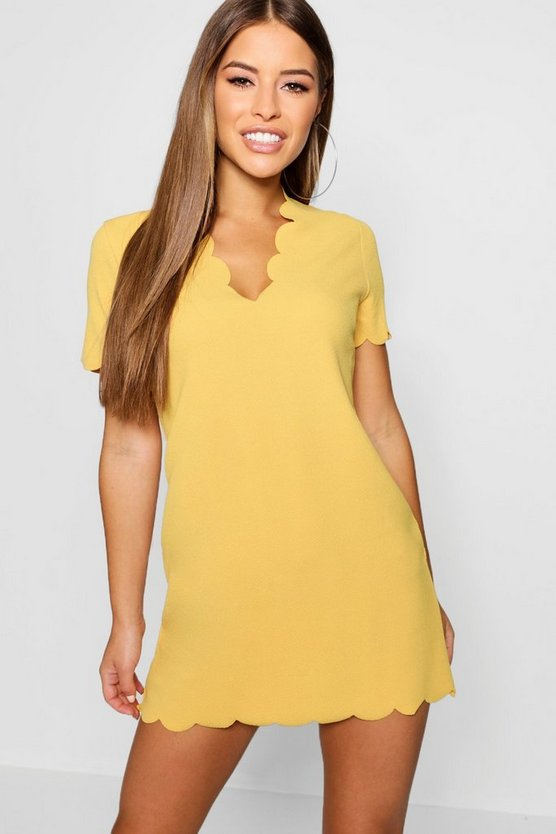 Petite Scallop Edge V- Neck Shift Dress