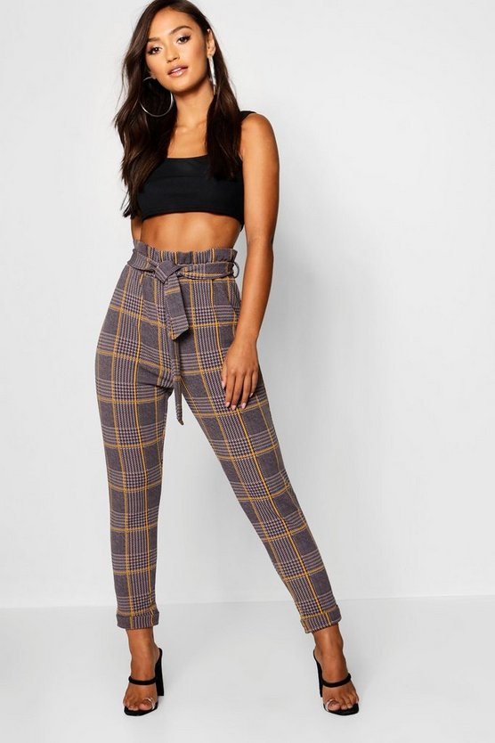 Grey Petite Dogtooth Check Belted Pants