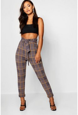 Womens Grey Petite Dogtooth Check Belted Pants