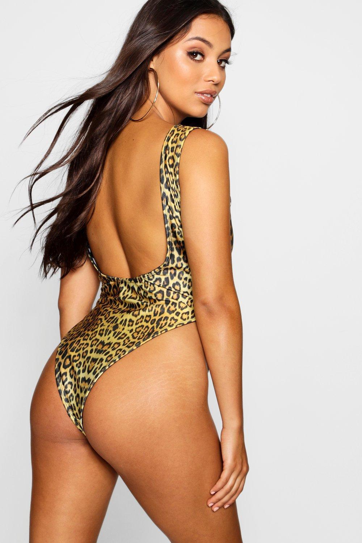 Leg High Leopard Print Swimsuit Petite brown qRwgAUxC