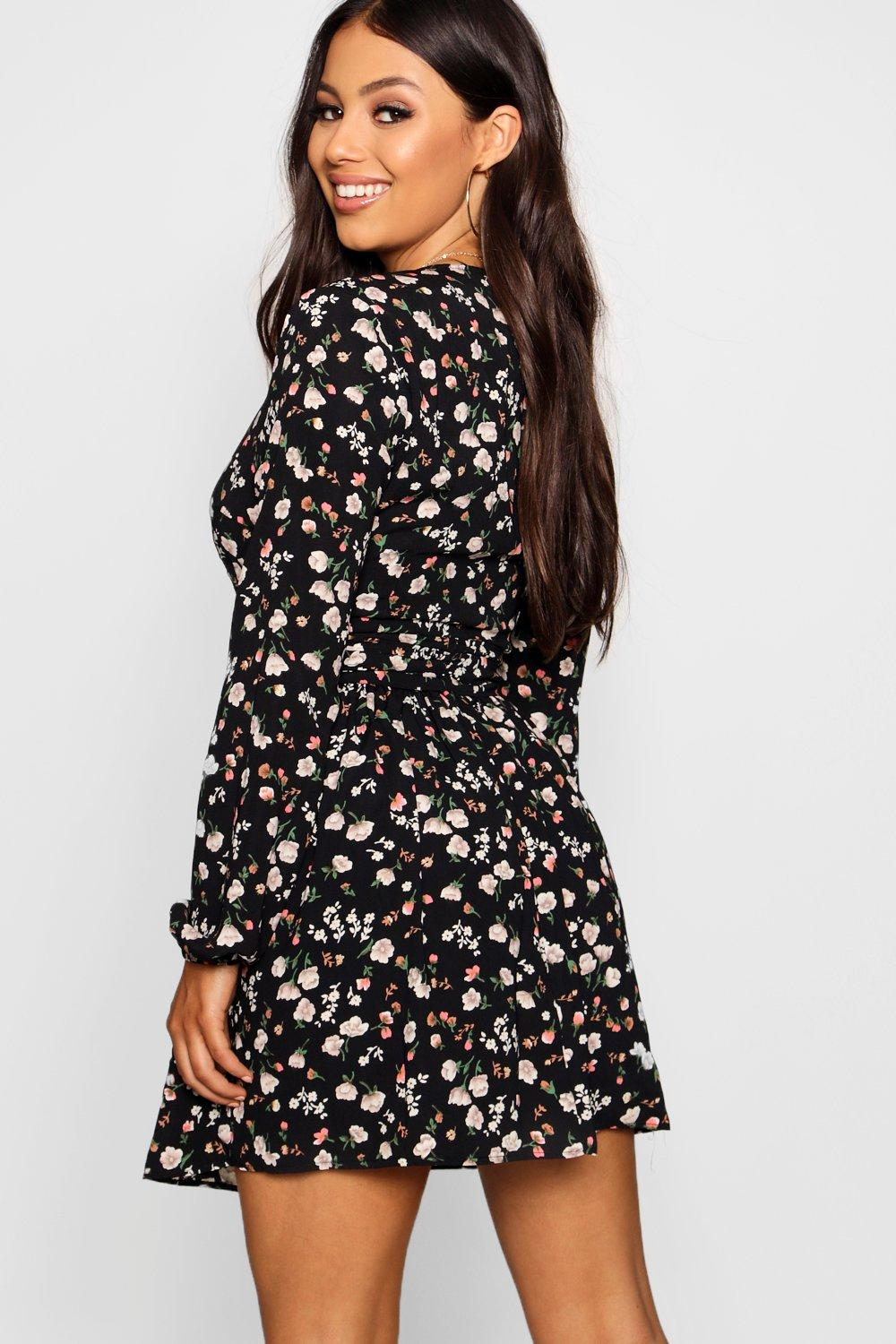 Dress Floral Sleeve Woven Petite Long Skater ZqHnpT