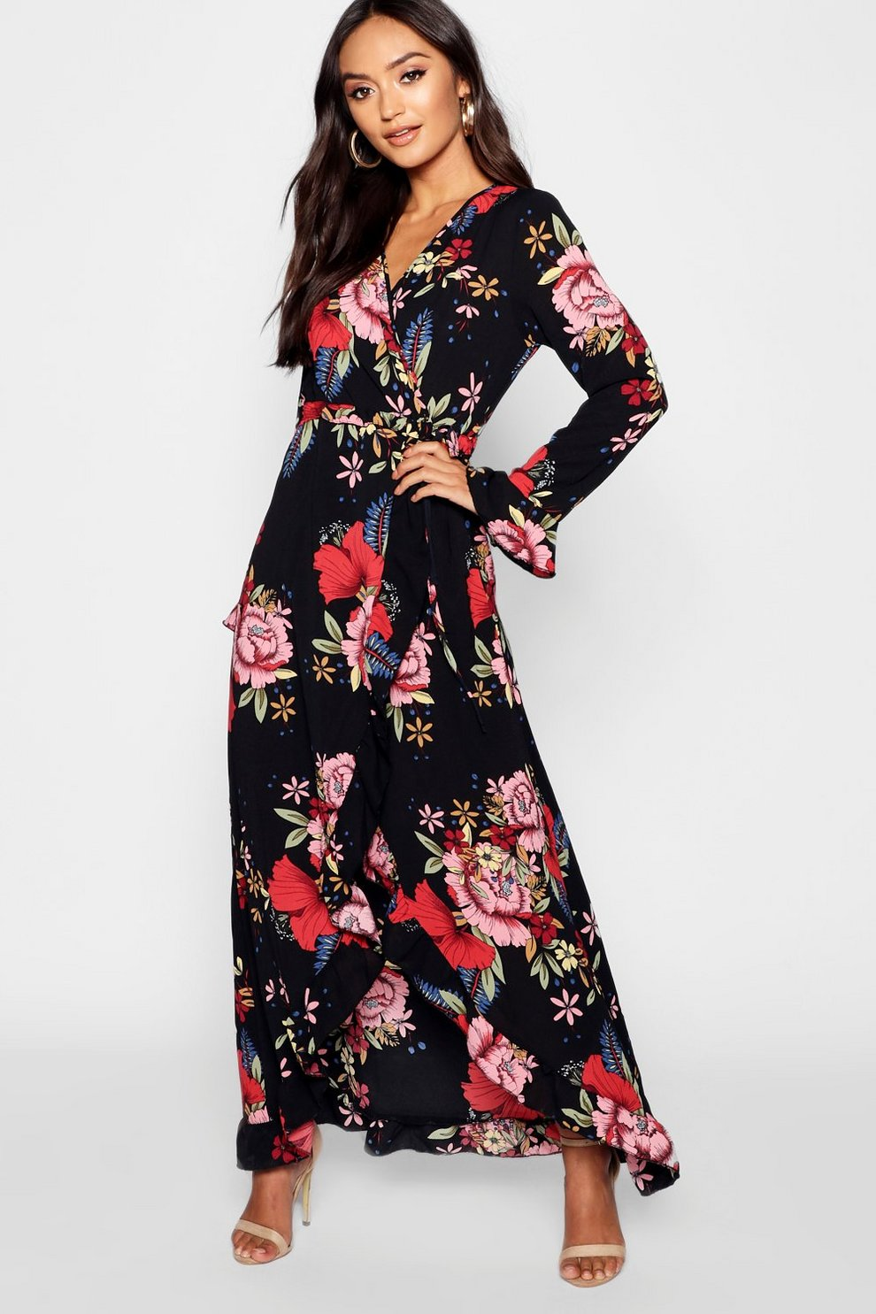 9a4f365f85 Petite Wrap Floral Maxi Dress