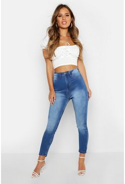 Mid blue Petite Super High Waisted Power Stretch Skinny Jeans