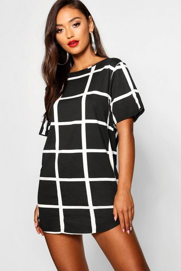 Black Petite Curved Hem Grid Check T-Shirt Dress