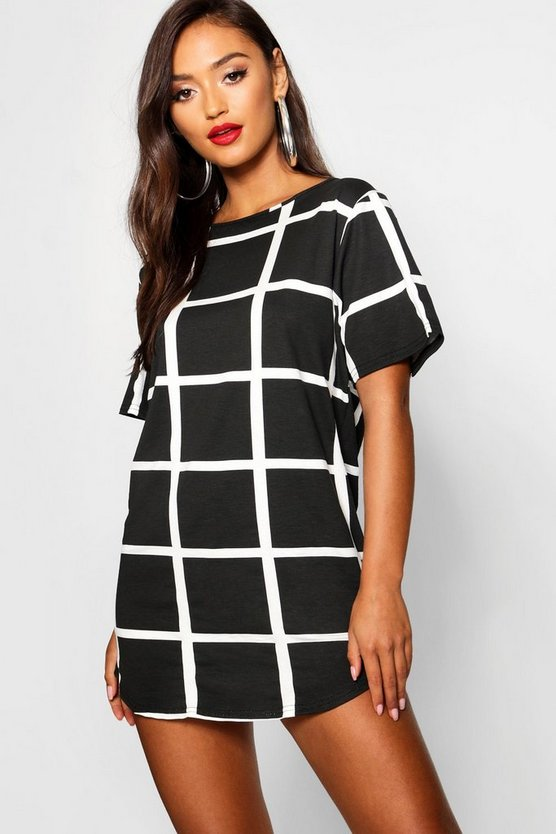 Petite Curved Hem Grid Check T-Shirt Dress