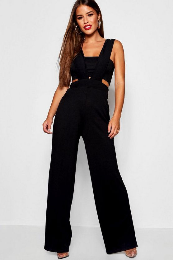 Womens Black Petite Plunge Jumpsuit