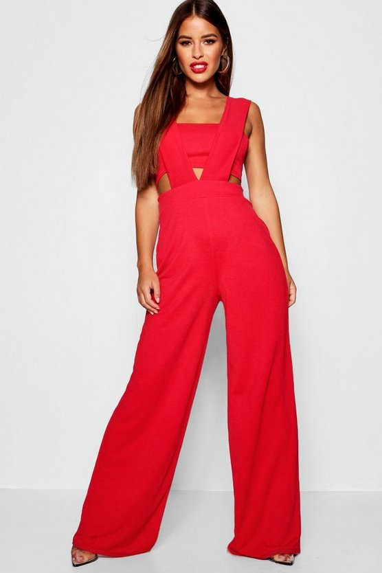 Womens Red Petite Plunge Jumpsuit