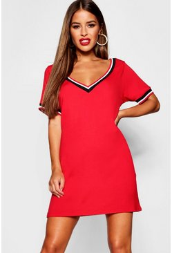 Womens Red Petite Sports Trim T-Shirt Dress