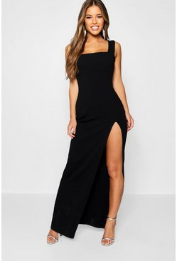 Womens Black Petite Square Neck Split Maxi Dress