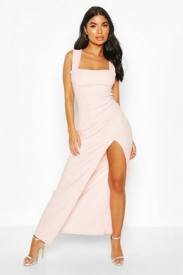 Blush Petite Square Neck Split Maxi Dress