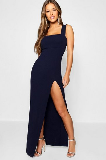 Womens Navy Petite Square Neck Split Maxi Dress