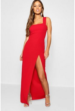 Womens Red Petite Square Neck Split Maxi Dress