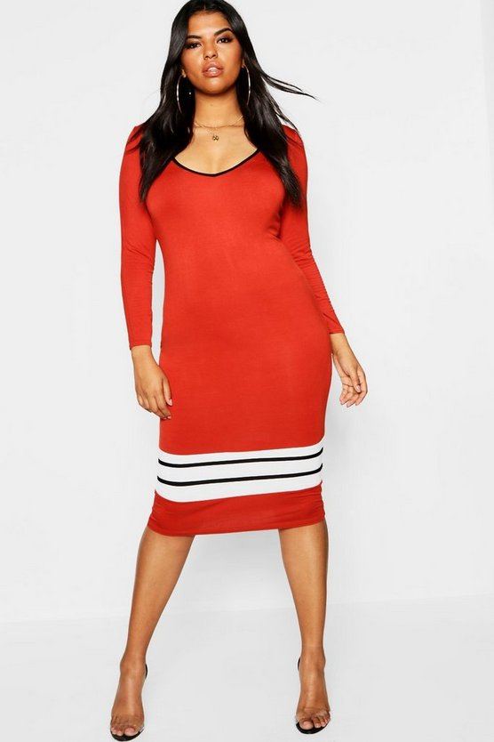 Plus Long Sleeved Sports Trim Midi Dress