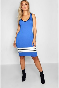 Womens Cobalt Plus Sports Trim Midi Dress