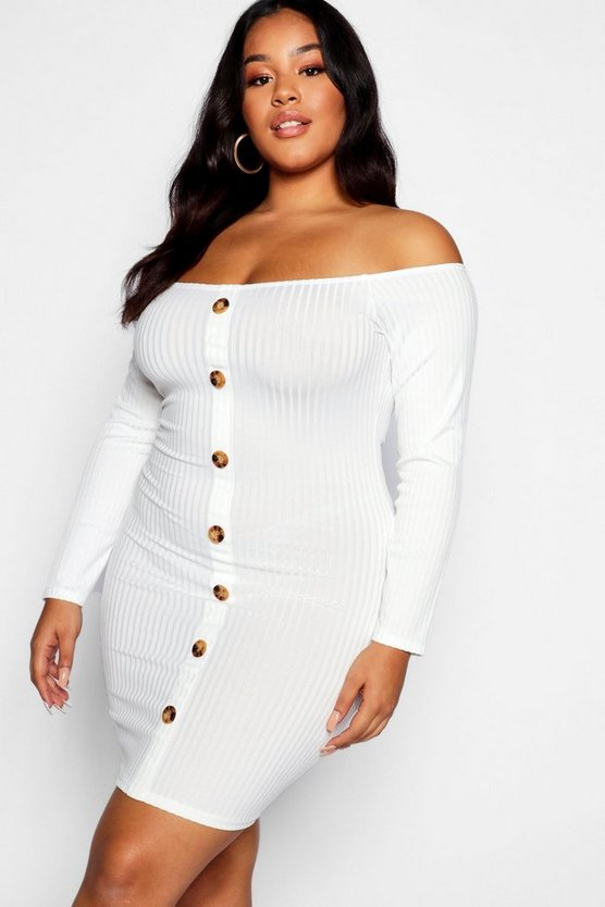 Plus Horn Button Knitted Bardot Dress