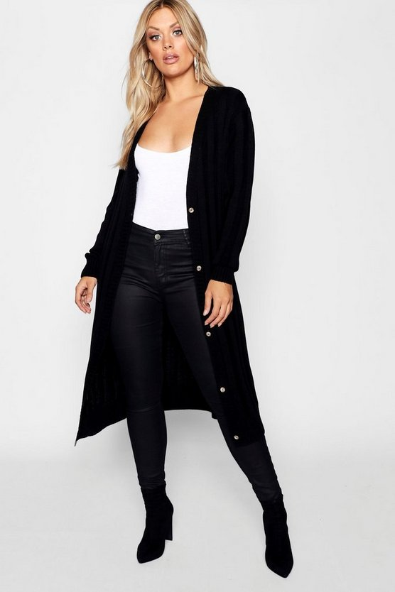 Womens Black Plus Horn Button Longline Cardigan