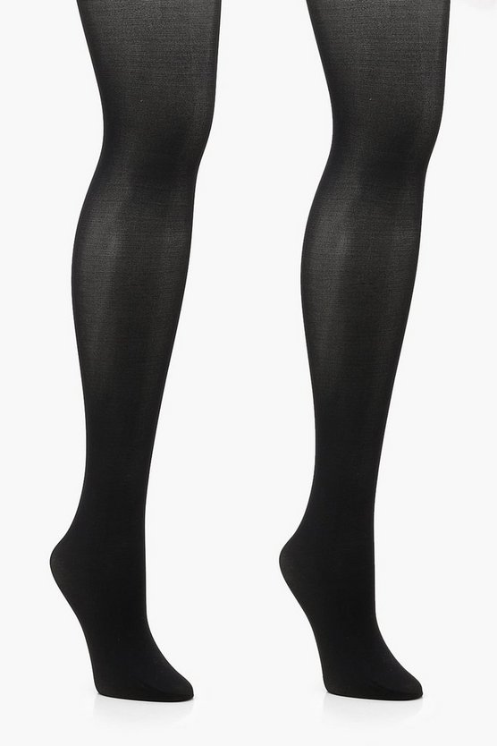 Womens Black Plus 2 Pack 40 Denier Opaque Tights