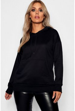 Womens Black Plus Boyfriend Hoodie