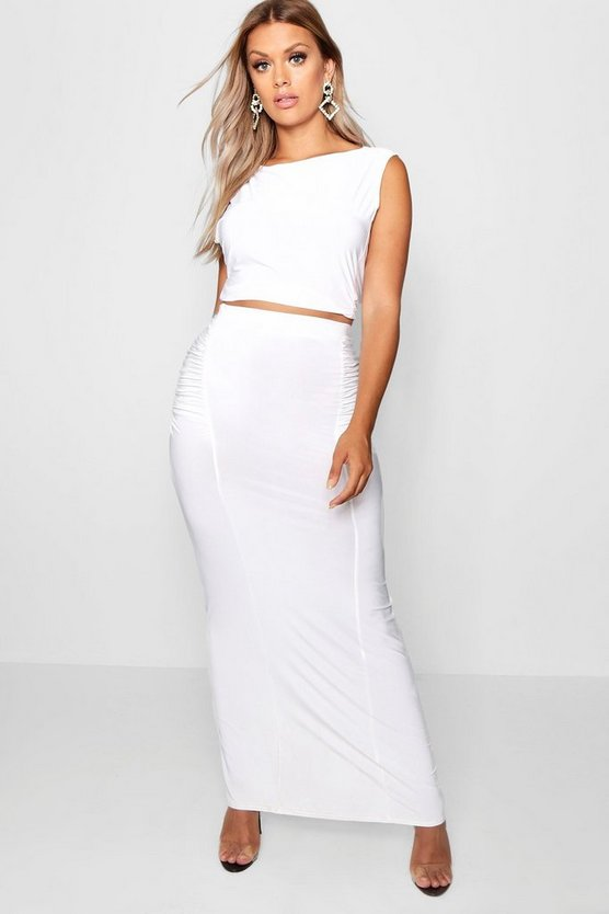 Womens Ivory Plus Slinky Maxi Skirt Co Ord