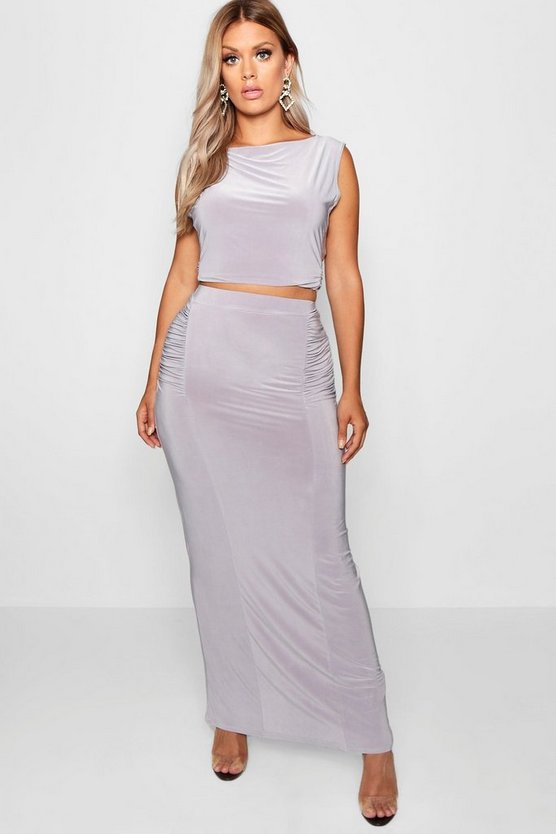 Plus Slinky Maxi Skirt Co Ord