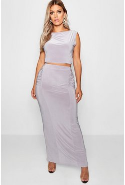 Womens Silver Plus Slinky Maxi Skirt Co Ord