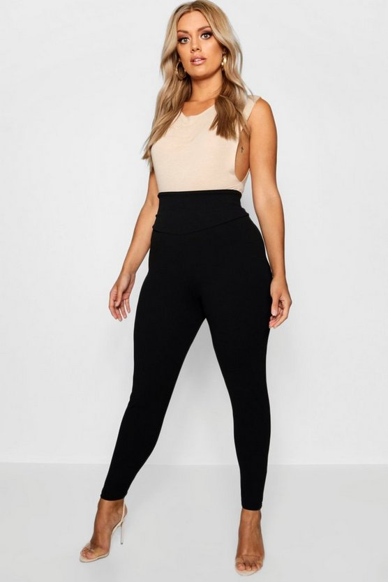 Womens Black Plus High Waist Sculpt Leggings
