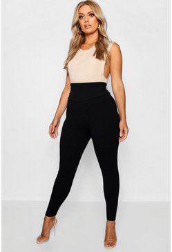 Plus Form high-waist Leggings, Schwarz