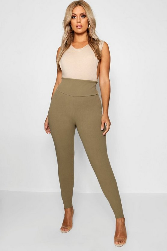 Womens Khaki Plus High Waist Sculpt Leggings
