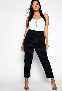 Womens Black Plus Pinstripe Drawstring Jogger