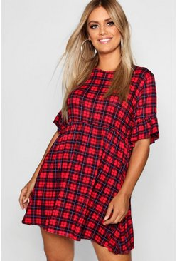 Red Plus Check Ruffle Sleeve Smock Dress