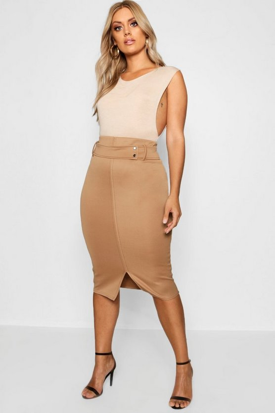 Plus Contrast Stitch Belted Midi Skirt
