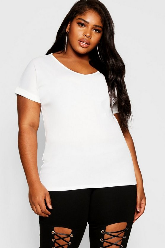 Womens Ecru Plus Basic Rib Oversized T-Shirt