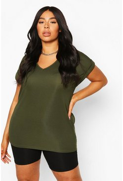 Plus t-shirt basic oversize a coste, Khaki