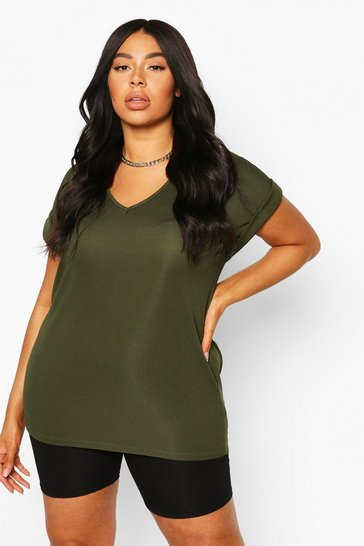 Womens Khaki Plus Basic Rib Oversized T-Shirt