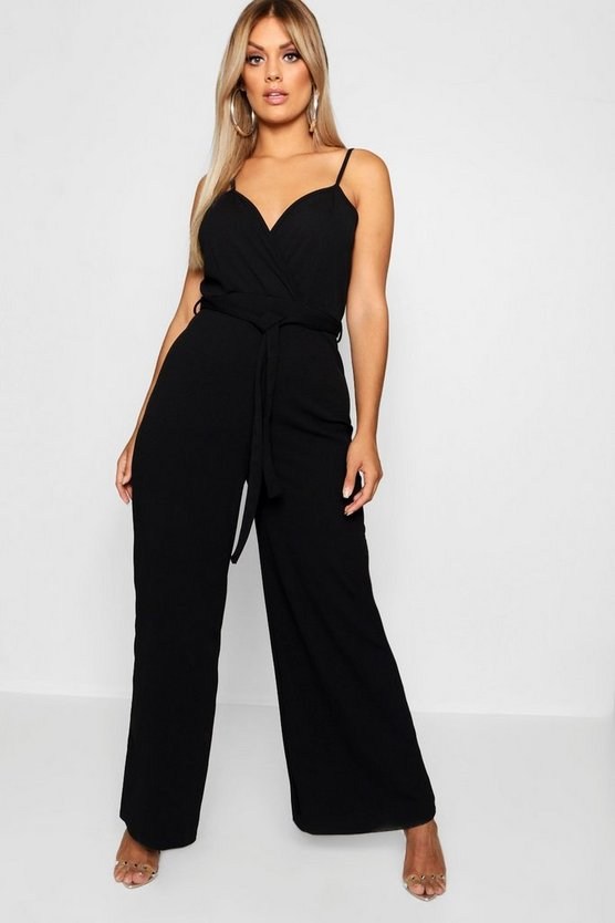 Womens Black Plus Wrap Front Wide Leg Jumpsuit