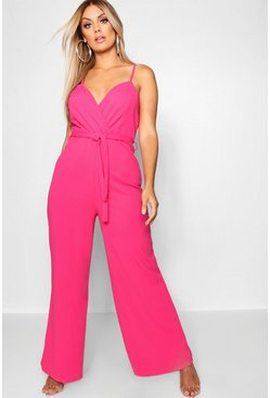 Hot pink Plus - Jumpsuit med omlottliv och vida ben