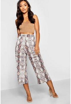 fd3da1241bce Petite pantaloni culottes sinuosi con stampa a pelle di serpente, Pietra,  Donna