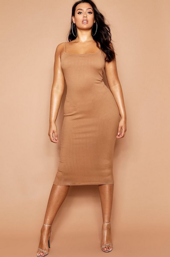 Womens Camel Plus Jumbo Rib Midi Dress