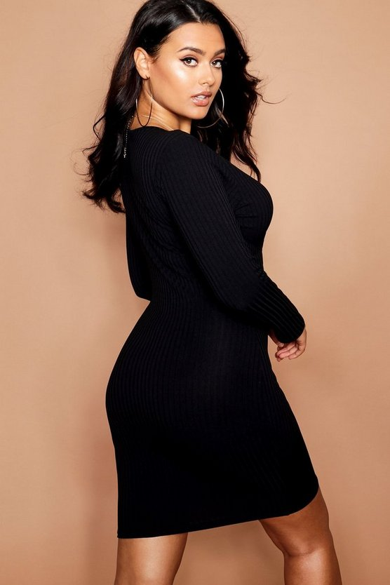 Plus Jumbo Long Sleeve Bodycon Dress