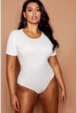 Womens Ivory Plus Jumbo Rib Bodysuit