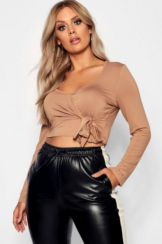 Plus Long Sleeve Wrap Tie Detail Top