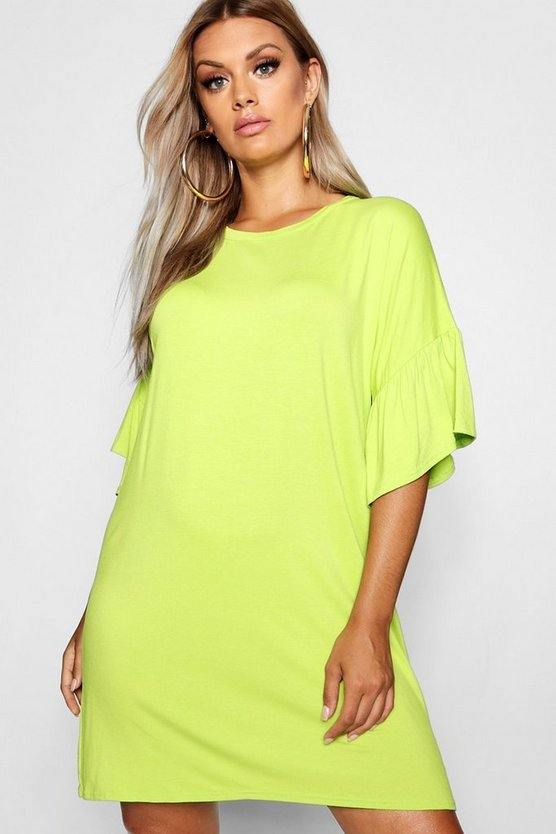 Plus Jersey Flared Sleeve T-Shirt Dress