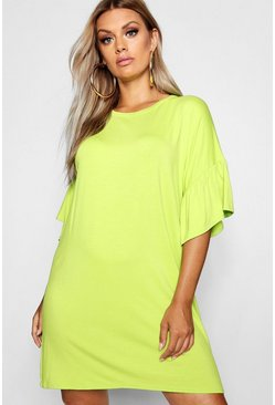 Womens Lime Plus Jersey Flared Sleeve T-Shirt Dress