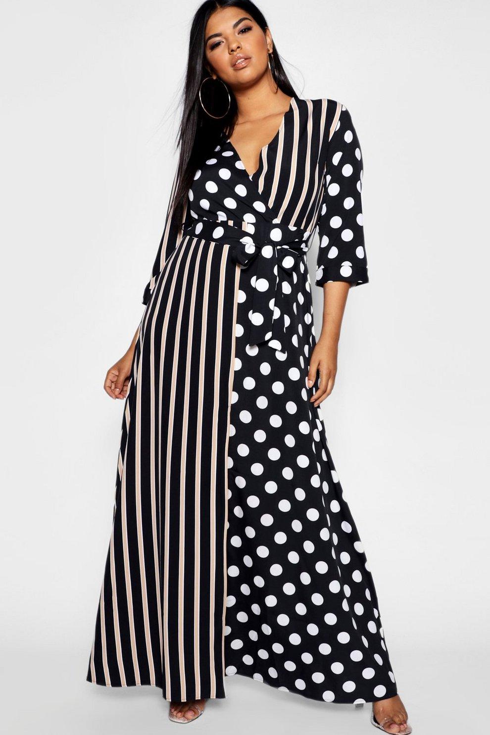 570bb7b64584 Womens Black Plus Polka Dot + Stripe Maxi Shirt Dress