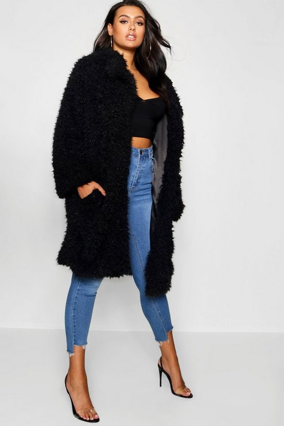 Womens Black Plus Long Sleeve Faux Fur Coat