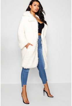 Cream Plus Long Sleeve Faux Fur Coat