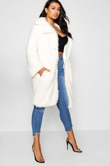 Womens Cream Plus Long Sleeve Faux Fur Coat